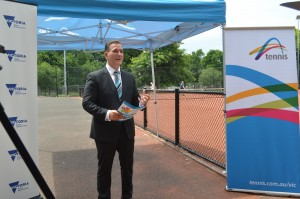 Sports Minister John Eren launches the Opening Up Tennis program at PHTC.